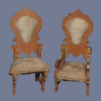 Two Old Doll Chairs Wood W/ Silk Upholstery Miniature Dollhouse Carved