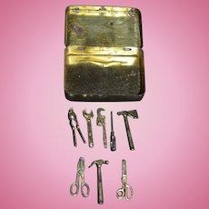Vintage Miniature Old Tin Box w/ Miniature Dollhouse Tools