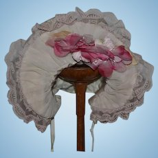 Fancy Doll Bonnet Hat Lace Flowers