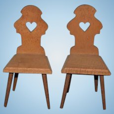 Two Old Wood Carved Heart Back Chairs Miniature Dollhouse