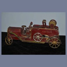 Old Dayton Pressed Steel Fire Truck Fire Dept W/ Cast Iron Fireman Friction Truck