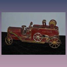 Old Dayton Pressed Steel Fire Truck Fire Dept W/ Cast Iron Fireman Friction Truck