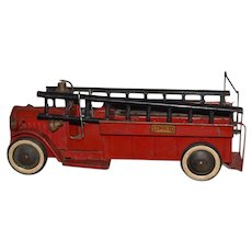 Old STRUCTO Fire Truck W/ Ladders and Bell Pressed Steel