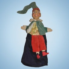 Wonderful Old Punch Doll From Punch and Judy Carved Wood Head Puppet