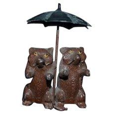 Old German Teddy Bears Under Umbrella Parasol Metal Miniature Sweet! Dollhouse Figurine