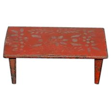 Old Doll Cast Iron Table Tole Painted Miniature Dollhouse Wonderful