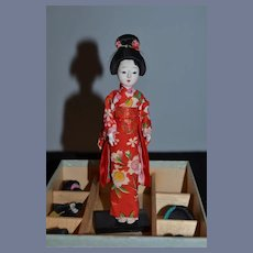 Old Japanese Doll W/ Six Wigs in Original Box Sweet