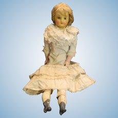 Antique Wax Doll Glass Eyes Gorgeous Lady Papier Mache Bulging Eyes