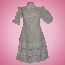 Antique Doll Cotton Dress Lace Trim Fancy