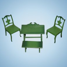 Vintage Doll Wood Painted Green Dollhouse Miniature Furniture Table Chairs Bench