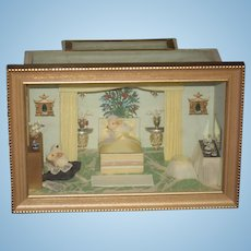 Wonderful Miniature Doll Room Box Dollhouse Madame Souris French Mouse W/ Miniatures Signed