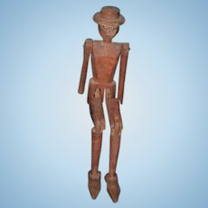 Old Doll Carved Wood Folk Art Dancing Man Stick Man Jointed
