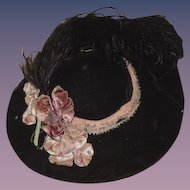 Old Doll Hat Velvet w/ Flowers & Feathers Fancy Fashion Doll