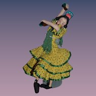 Old Wonderful Klumpe Spanish Dancing Doll Cloth Doll W/ Tag