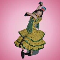 Old Wonderful Klumpe Spanish Dancing Doll Cloth Doll W/ Tag