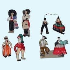 Old Miniature Lot of Cloth Dolls Unusual Doll EIGHT Dolls Dollhouse