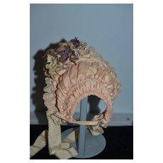 Wonderful Doll Bonnet Wire Framed W/ Flowers Artist Made Sweet Hat