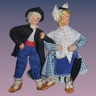 Wonderful Old Cloth Felt Character Doll Set Dolls Miniature Dollhouse Size