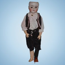 """Antique Doll Bisque Boy German Mystery Glass Eyes 24"""" Tall"""