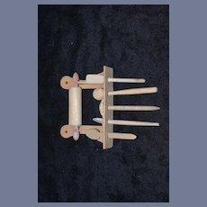 Old Doll Wood Kitchen Utensils in Wooden Case Miniature Dollhouse Wood Rack