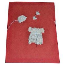 Wonderful Miniature Crochet outfit Dress bonnet booties On card Dollhouse