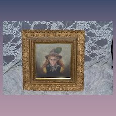 Antique Painting Child W/ Ornate Wood Frame Oil Painting on Board