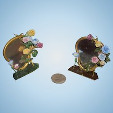 Old Doll Miniature Ornate Matching Vanity Mirrors Mirror W/ porcelain or enamel Flowers for Doll Dollhouse Fashion Doll
