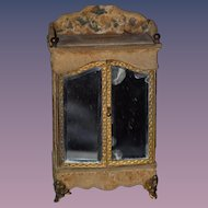 Antique Doll French Miniature Mirror Front Wardrobe Sewing Kit Dollhouse