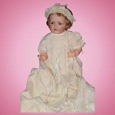Antique Doll HILDA Baby Doll J.D.K. 237 Bisque Darling W/ long Christening Gown and Bonnet Kestner