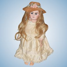 Antique Doll French Bisque Gorgeous R 2 D W/ Long Wig Straw Hat & Dress Rabery and Delphieu
