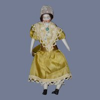 Antique Doll Miniature Dollhouse Parian China Head Dollhouse Lady Dressed