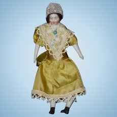 Antique Doll Miniature Dollhouse Parian China Head Dollhouse Lady Dressed