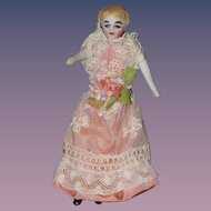 Antique Doll Miniature China Head Fancy Features Dollhouse Dressed