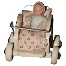 Old Doll German Wood Pram Stroller W/ Baby Miniature Caco Miniature: Dollhouse