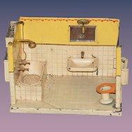 Antique Tin Miniature Doll Dollhouse Bathroom GOSO German Bath Tub Sink Toilet Room
