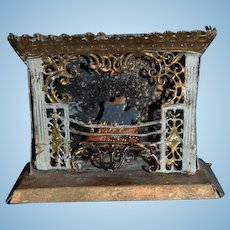 Old Doll Miniature Fireplace Soft Metal W/ Fire and Logs Dollhouse