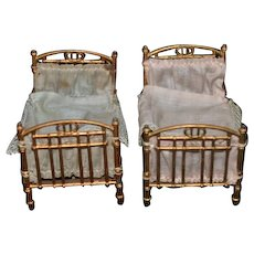 Two Old Matching Doll Miniature Soft Metal Beds Dollhouse