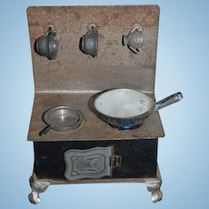 Old Doll Miniature Tin Stove Oven Dollhouse W/ Pots and Pans