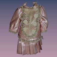 Wonderful Doll Dress Satin Lace Drop Waist Flowers Fancy
