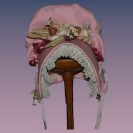 Vintage Doll Bonnet Hat Fruit Flowers Lace