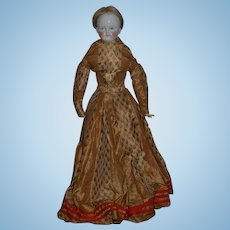 """Antique Doll 1855 Conta & Boehme Bald Solid Head Shoulderplate China Head Antique Dress 25"""" Tall"""