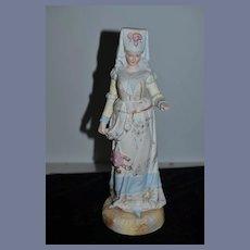 Antique Doll Figurine Large Porcelain Lady Victorian Lady Statue Ornate