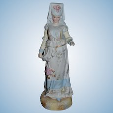 Antique Doll Figurine Large Porcelain Lady Victorian Lady Statue Ornate