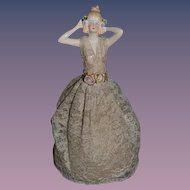 Old Doll Beautiful China Head Half Doll W/ Base Fancy lace dress Arms to Her head.