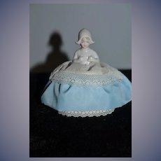 Old Half Doll China Head Pincushion Sweet W/ Fancy Bonnet