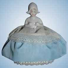 Old Half Doll China Head Pincushion Sweet W/ Fancy Bonnet