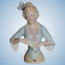 Old Doll Half Doll Feathers in Head Parian