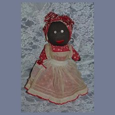 Old Doll Black Cloth Stockinette Rag Doll Charming
