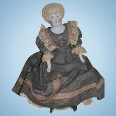 Antique Doll China Head W/ Humpty Dumpty Cloth Body Wonderful Clothes