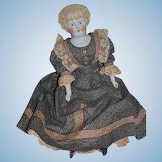 Antique Doll China Head W/ Humpty Dumpty Cloth Body Wonderful Clothes